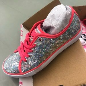 Other - Sequin sneakers with Hot Pink Outline